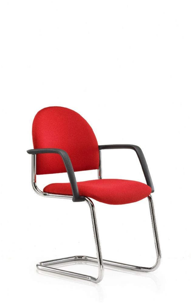 Pledge Arena Upholstered Round Back Visitor Chair With Cantilever Base